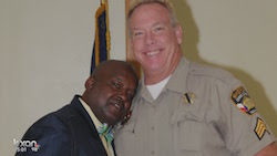 Sheriff Greg Hamilton, left, clowning around with Sgt. Craig Hutchinson